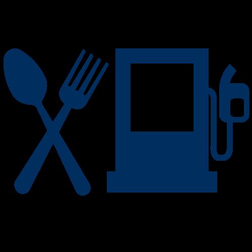 Restaurant Icon. Gas Pump Icon.