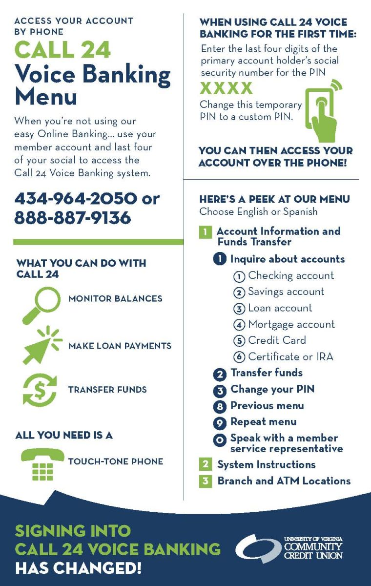 Access your account by phone by calling 434-964-2050